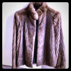 Vintage Cropped Brown Fur Jacket, 12/M